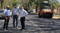 Mirolo y Arteaga visitaron el avance de la obra de reencarpetado asfáltico de la Av. Belgrano