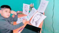 Tiene 11 años, es oriundo de Frías y  un gran futuro en el arte del retrato