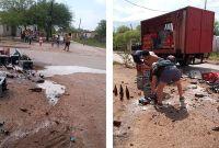 """Una """"tragedia"""": camión que transportaba cerveza perdió parte de su carga"""