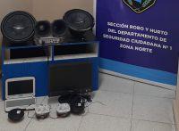 La Policía recuperó computadoras y equipos de sonido